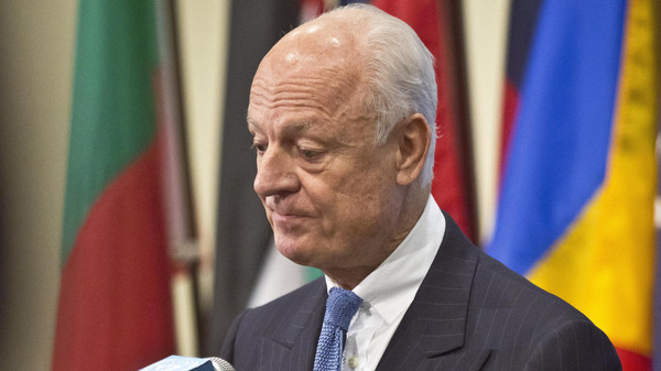 U.N. Syria envoy Staffan de Mistura listens during a press conference after his meeting with the U.N. Security Council, Thursday, Oct. 30, 2014.