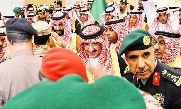 Saudi citizens and officials pledge their allegiance to the newly appointed crown prince and the deputy crown prince in Riyadh on Wednesday.
