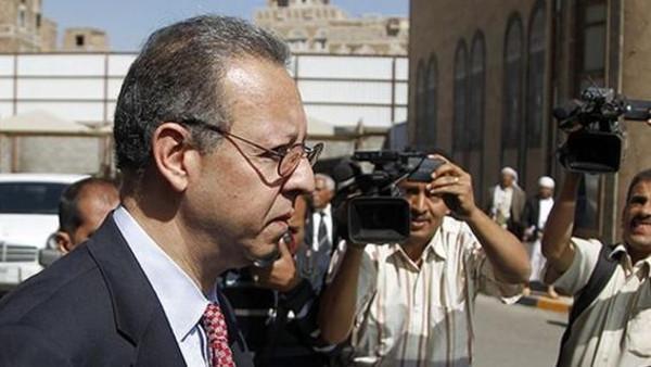 Jamal Benomar, the U.N. special adviser on Yemen, leaves the legislative body in Sanaa.