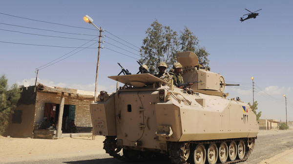 An explosion targeting a military vehicle killed five soldiers near the town of Sheikh Zuweid in Egypt's North Sinai.
