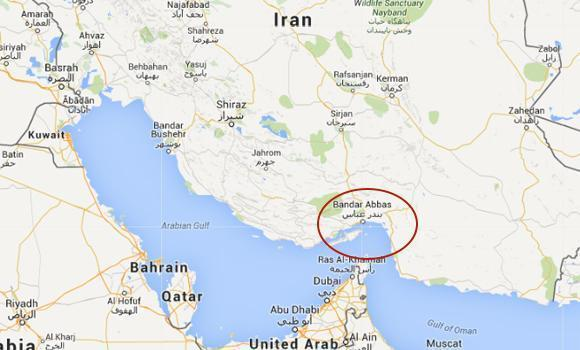Google map showing the Strait of Hormuz where Iranian forces boarded a Marshall Islands-flagged cargo ship on Tuesday.