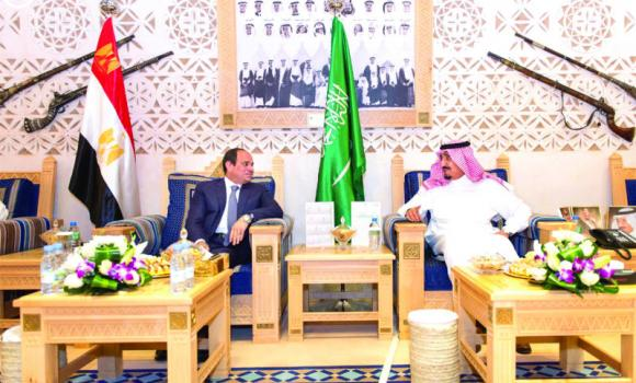 Custodian of the Two Holy Mosques King Salman receives Egyptian President Abdel Fattah El-Sissi at Al-Awja Palace in Diriyah on Saturday.