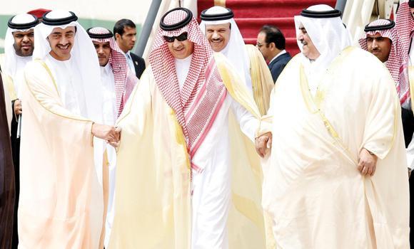 Deputy Foreign Minister Prince Abdul Aziz bin Abdullah welcomes UAE Foreign Minister Sheikh Abdullah bin Zayed Al-Nahyan, left, and Bahrain's Foreign Minister Sheikh Khaled bin Ahmed Al-Khalifa upon their arrival in Riyadh on Thursday.