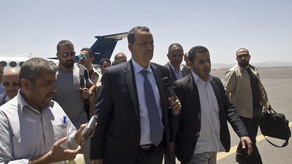 Ismail Weld al-Sheikh, new U.N. special envoy to Yemen, center, arrives at the international airport in Sanaa, Yemen, Tuesday, May 12, 2015.