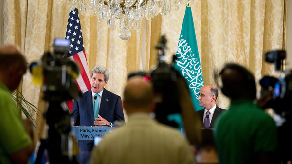 Saudi Foreign Minister Adel al-Jubeir (R) during a joint press conference with U.S. Secretary of State John Kerry after talks in Paris.