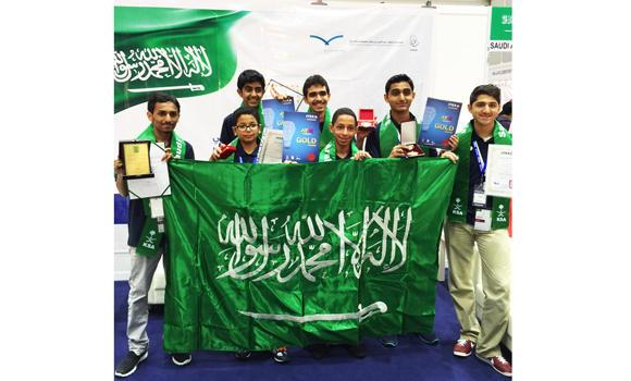 "Saudi gifted students showing their medals at ""ITEX2015"", Malaysia."