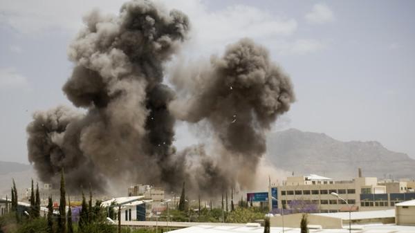 In this April 8, 2015 file photo, smoke billows from a Saudi-led airstrike, in Sanaa, Yemen.