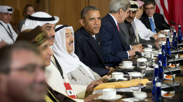 U.S. President Barack Obama hosts a working session of the six-nation Gulf Cooperation Council (GCC) at Camp David in Maryland May 14, 2015.