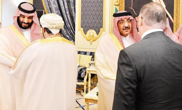 Crown Prince Mohammed bin Naif and Deputy Crown Prince Mohammed bin Salman receive foreign ambassadors who came to greet them at Al-Salam Palace in Jeddah on Sunday. (SPA)