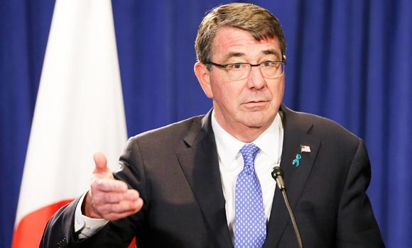 In this April 27, 2015 photo, Defense Secretary Ash Carter speaks during a news conference in New York.
