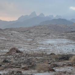 Light snow is seen in the desert in Tabuk region in this picture taken on Thursday amid a cold spell that is sweeping the kingdom. Riyadh is expected to have subzero temperatures. (SPA)