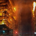 Blazing building collapses in Sao Paulo