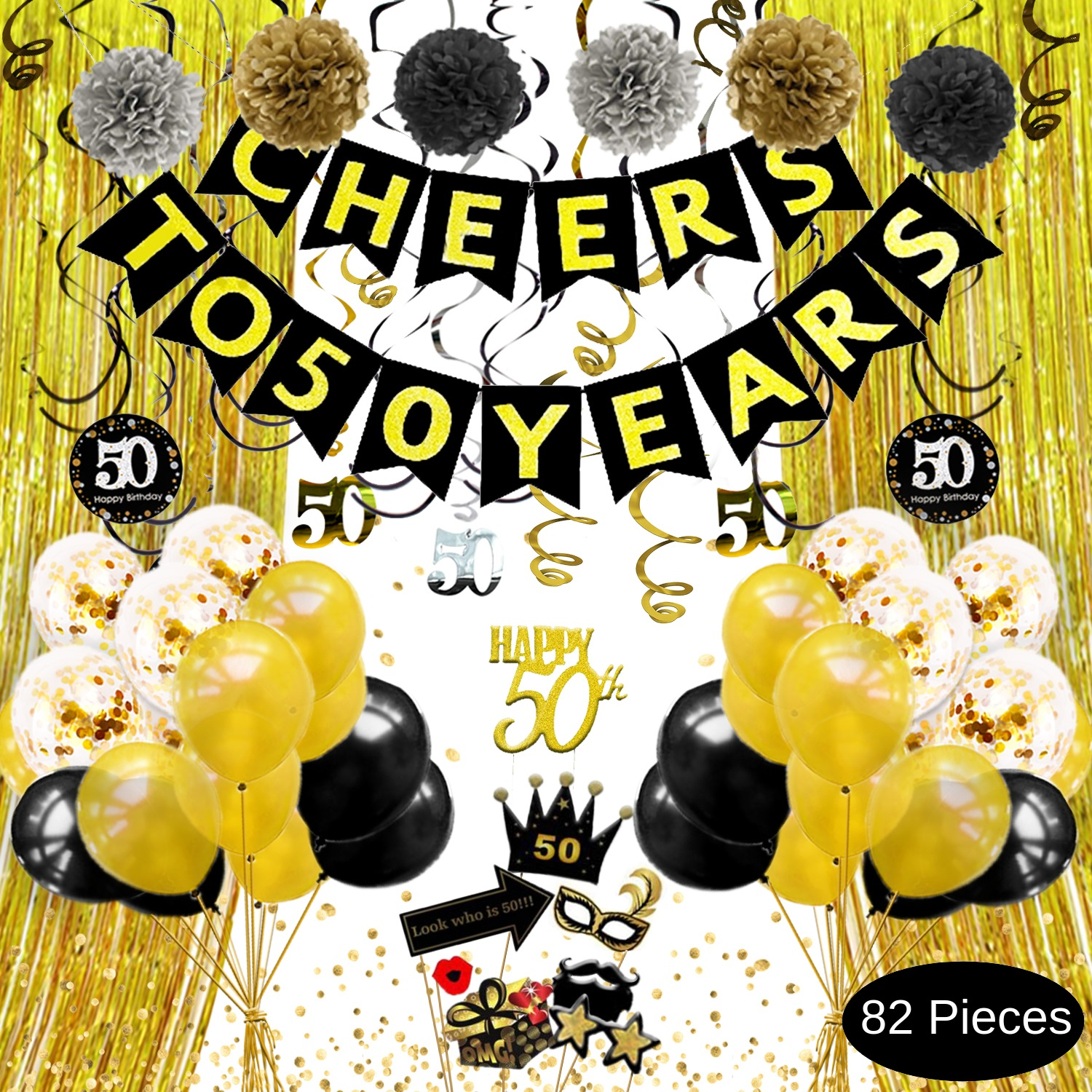 50th Birthday Decorations For Men Women Cheers To 50 Years Banner Gold Black Silver Pom Poms Hanging Swirls Cake Topper Photo Props Backdrop Balloons Confetti 50th Anniversary Decorations Rizell