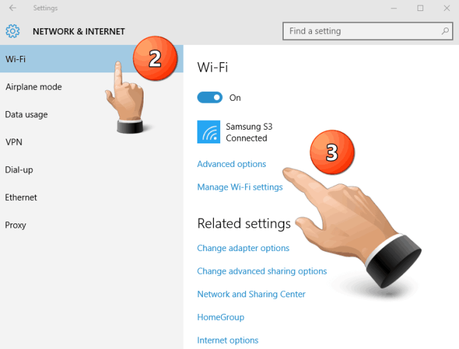 Network and Internet Settings Wi-Fi Advanced Options