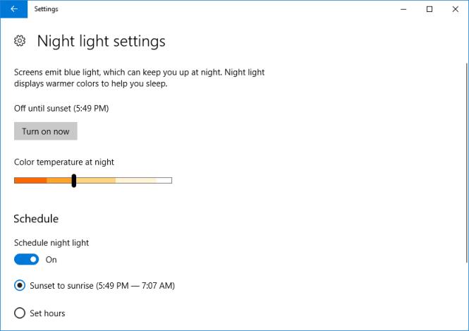 Turn on Windows 10 Night light