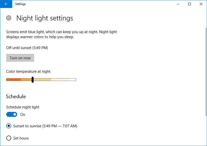 Turn on Windows 10 Night light
