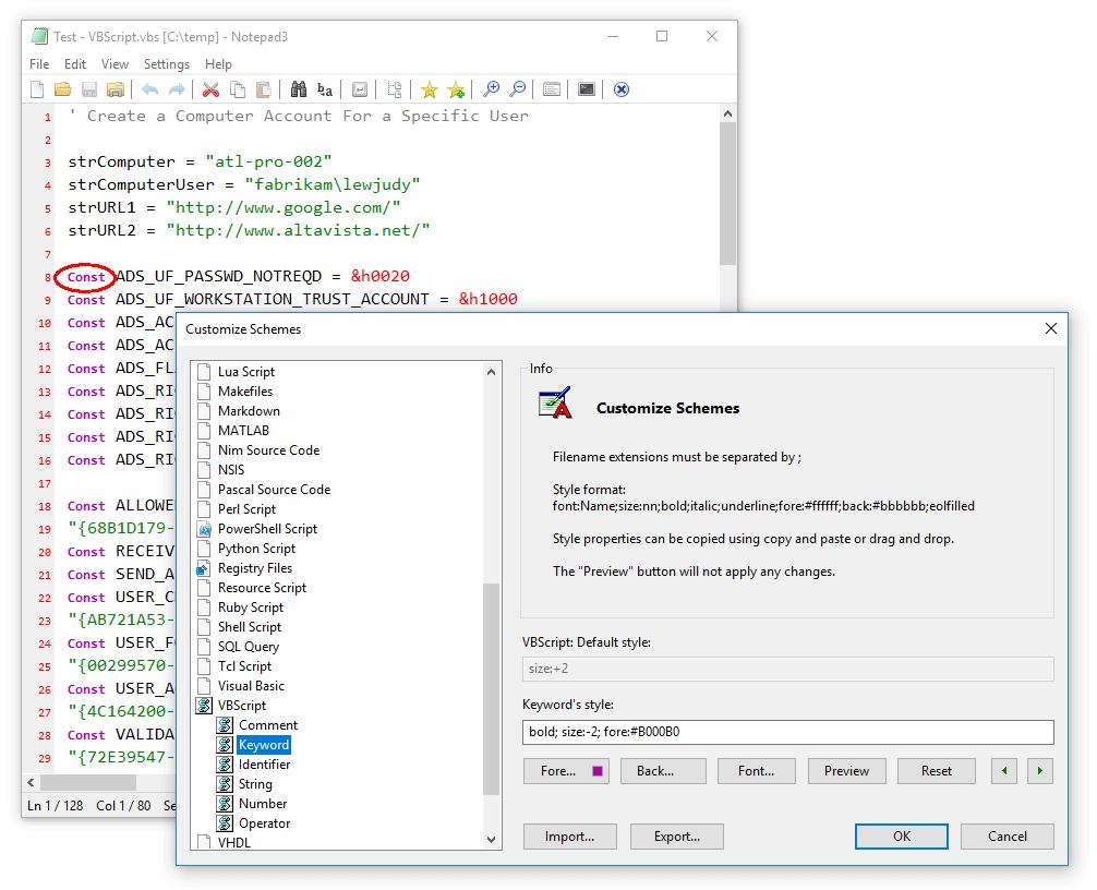 Notepad3 Customize Schemes Keyword