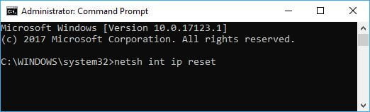 Windows 10 Reset Internet Protocol Command