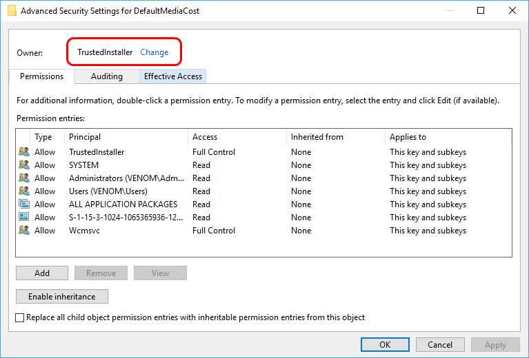 Advanced Security Settings for DefaultMediaCost
