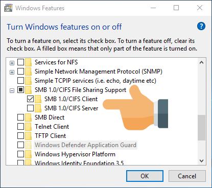 Install SMB version 1.0