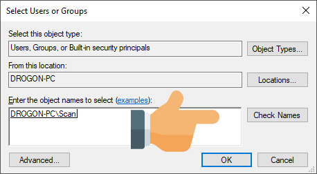 Scan to folder Select Users or Groups
