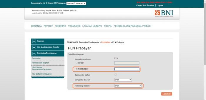 Masukkan detail nomor meteran listrik BNI INternet Banking