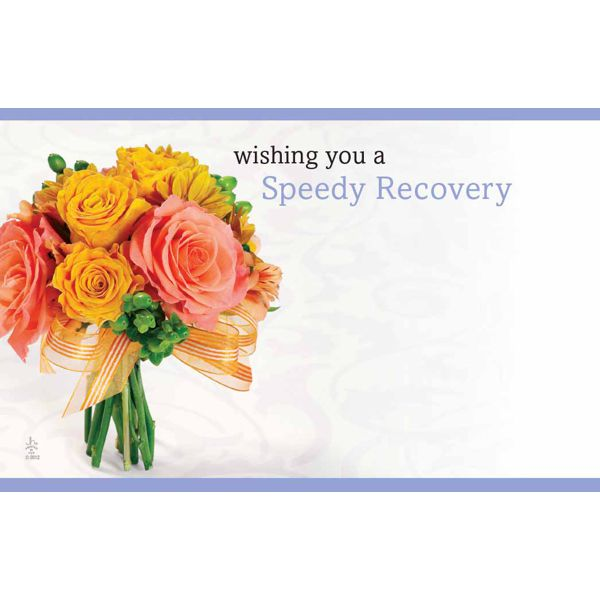 Wishing You A Speedy Recovery WPinkOrange Roses Get Well Floral Cards