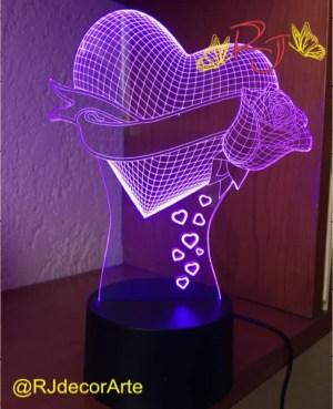 lampara led 3d corazon flor