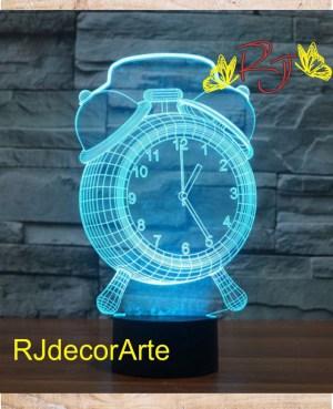lampara led reloj 3d
