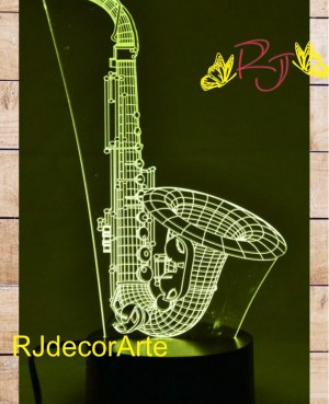 lampara led 3d saxofon