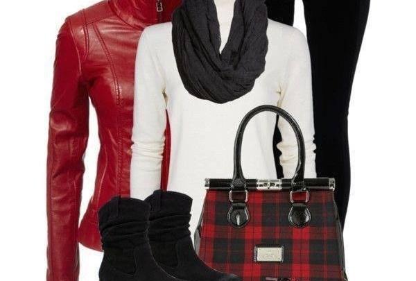 تنسيق ملابس حمراء شتاء 2014