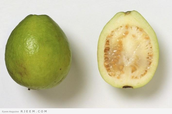 Psidium guajava, whole and sectioned Guava fruit.