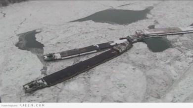 Photo of فيديو: الجليد يحاصر السفن في نهر الدانوب برومانيا ويحتجزها