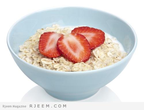 porridge with fresh strawberry isolated