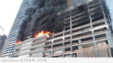 "Photo of بالصور.. السيطرة على حريق هائل ببرج ""فاونتن فيوز"" في دبي"