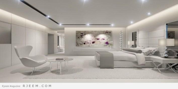 غرف نوم باللون الابيض مع اضاءة