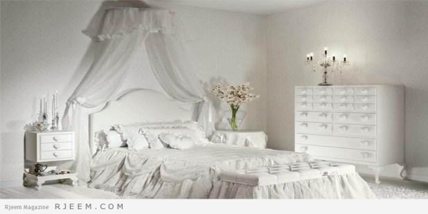 غرف نوم باللون الابيض مع ستائر ومفارش