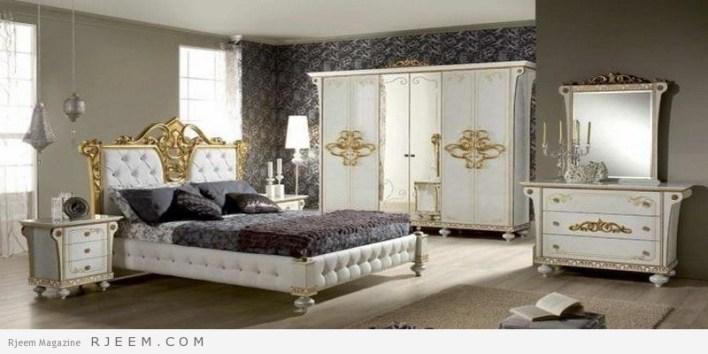 احدث غرف نوم عرسان كاملة منقوشة