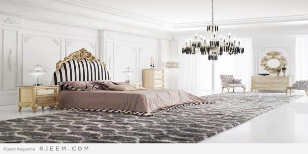 غرف نوم باللون الابيض مع سجادة طويلة غامقة