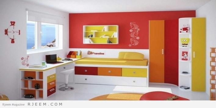 ديكورات غرف نوم اولاد باللون الاحمر