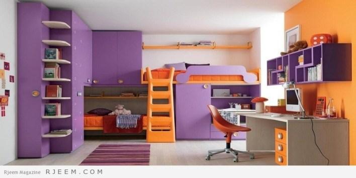 ديكورات غرف نوم اولاد لون بنفسجي