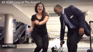 Photo of بالفيديو: احتجزت في المطار فأقامت حفلاً راقصاً