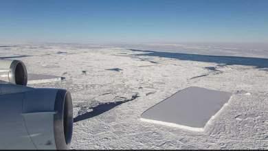 Photo of العثور على جبل جليدي نادر مستطيل الشكل