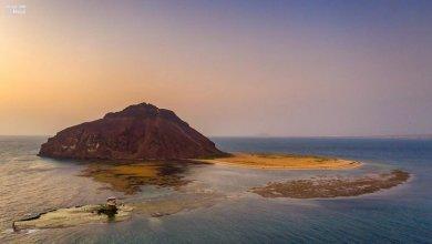 "Photo of عسير .. شاهد جزيرة الصقور المهاجرة.. ""كدمبل"" في لقطات جوية بلحظات غروب"