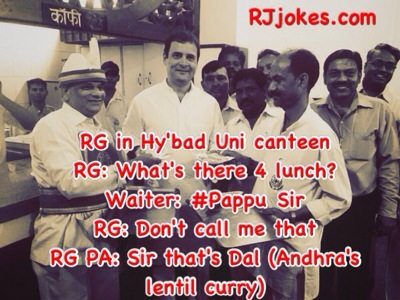 One of Most epic Jokes on Pappu, I mean Rahul Gandhi .. pappu is lentil in andhra