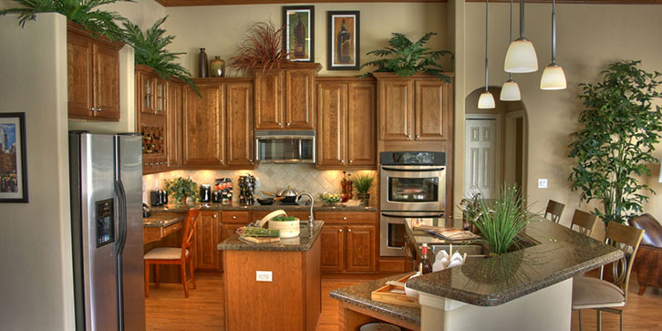 Kitchen With Center Island Plus Sink Rjm Custom Homes