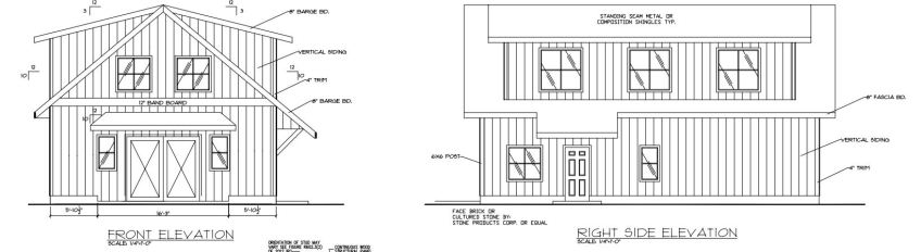 Barn Elevation drawings of Front and Right Side