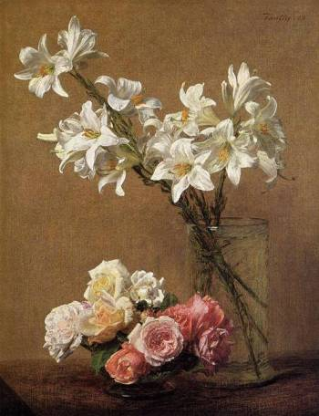 Henri Fantin-Latour (French Realist Painter, 1836-1904) Roses and Lilies 1888