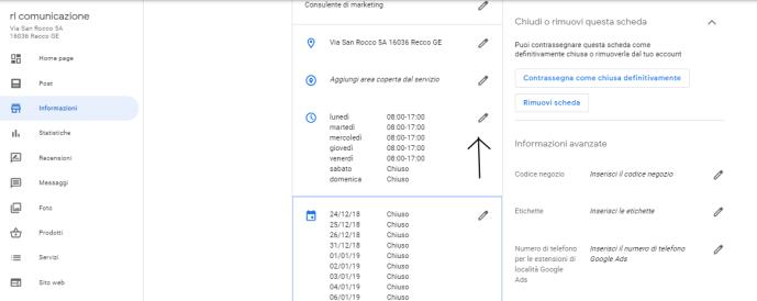 Google My Business cambiare orario