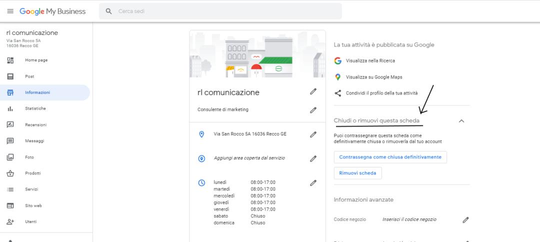 Google My Business sede aperta